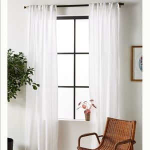 NWOT Anthropologie Stitched Linen Curtain Panel